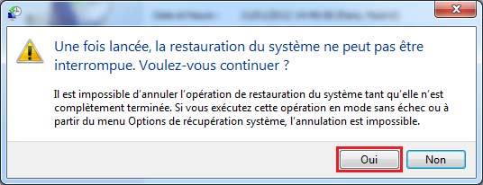 confirmer la restauration.