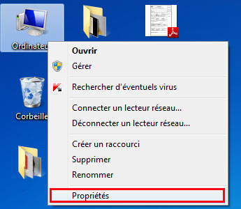 Propriété windows 7