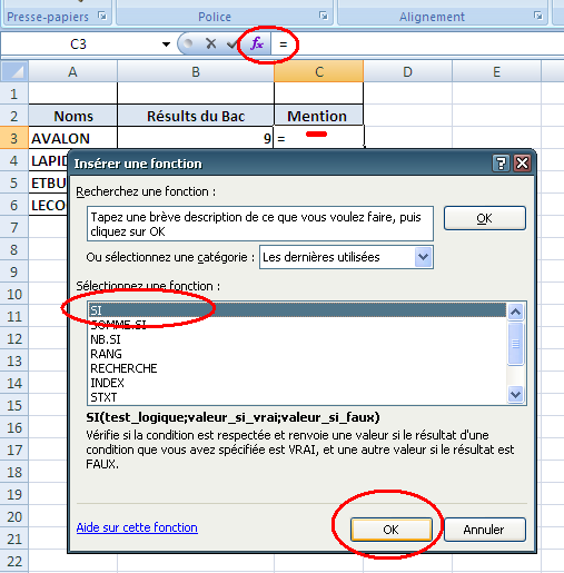 fonction conditionnelle SI en Excel
